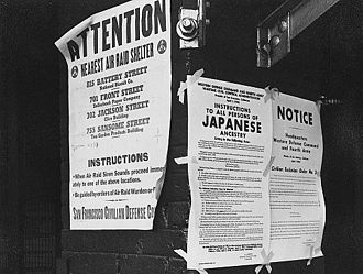 Propaganda for Japanese-American internment - Notices explaining Executive Order 9066 were posted around the West Coast to advertise Japanese-American Relocation