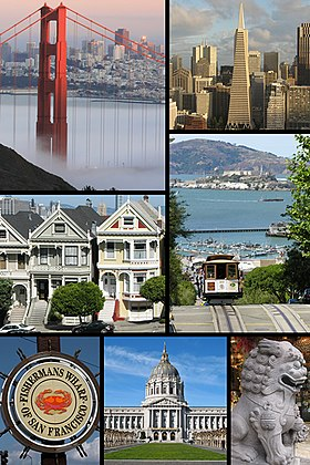 De haut en bas, de gauche à droite :Le Golden Gate Bridge, Financial District, des maisons victoriennes, un cable car, Fisherman's Wharf, l'hôtel de ville, Chinatown