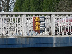 Sandwich, Kent - The town bridge in Sandwich, showing the town's coat of arms