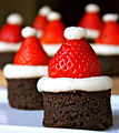 Santa hat brownie bites (8176372584).jpg