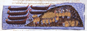 Constantine Gongyles - The Cretan Saracens defeat the Byzantines.  Miniature from the Madrid Skylitzes