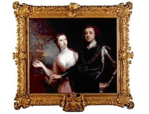 Sarah Lennox, Duchess of Richmond and Lennox - The Duke and the Duchess of Richmond, by Jonathan Richardson. This portrait was made at the request of the Duke's grandmother Louise de Kérouaille, who wanted a portrait of her grandson and his wife.