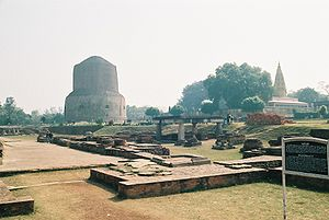 Architecture of Uttar Pradesh - Archaeological site at Sarnath (Dhamek stupa is visible in background)