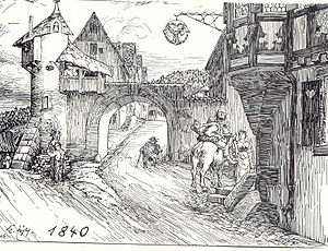 Schiltach - Lower gate by the Gasthaus Adler until 1840