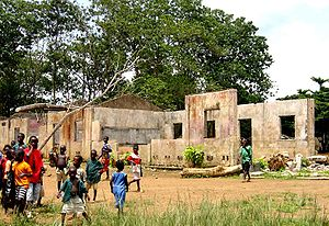 School destroyed by Sierra Leone Civil War