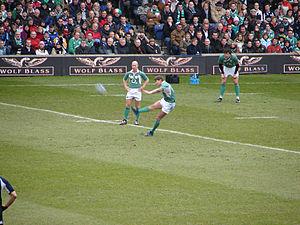 Peter Stringer - Stringer watches over a Ronan O'Gara kick against Scotland