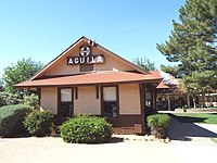The Aguila Depot, built in 1907 by the Santa Fe, Prescott and Phoenix Railway and moved to the McCormick-Stillman Railroad Park in Scottsdale, Arizona.