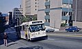 Seattle AM General trolleybus climbing James St near 5th Ave in 1983.jpg