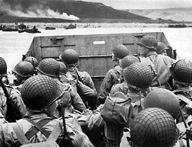 Un LCVP (Landing Craft Vehicle Personnel).Omaha Beach, Normandie, France.6 juin 1944