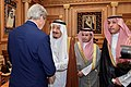 Secretary Kerry Shakes Hands With King Salman After Arriving in Saudi Arabia for Meetings About Syria (22252648558).jpg