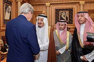 Foreign involvement in the Syrian Civil War - U.S. Secretary of State John Kerry with King Salman of Saudi Arabia after arriving in Saudi Arabia for meetings about Syria, 24 October 2015