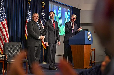"Cotton and Secretary of State Mike Pompeo in July 2018 Secretary Pompeo Delivers Remarks on ""Supporting Iranian Voices"" (41773488870).jpg"