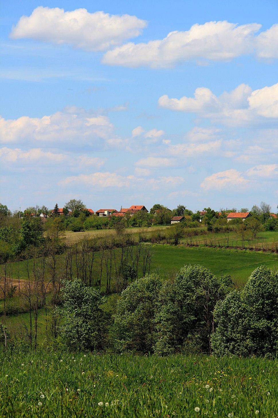 Selo Jazovik - opština Valjevo - zapadna Srbija - panorama - u pozadini selo Kozličić 2