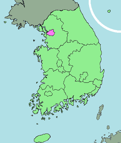 Map of South Korea with Seoul highlighted