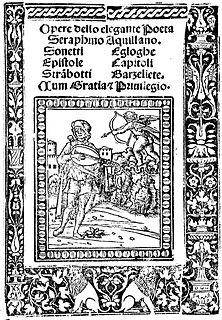 Serafino dellAquila Italian poet and improvisatore (1466-1500)