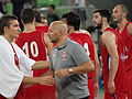 Serbia men's national basketball team and coach Aleksandar Đorđević.JPG