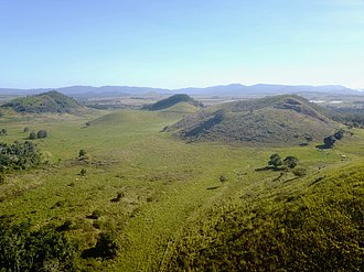 Seven Sisters (Queensland) - Aerial view of the Seven Sisters, Atherton Tableland, looking to the southwest.