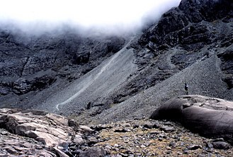 Sgùrr Alasdair - The Great Stone Chute (with pale streak up it) leads up to Sgùrr Alasdair (which is in the cloud)
