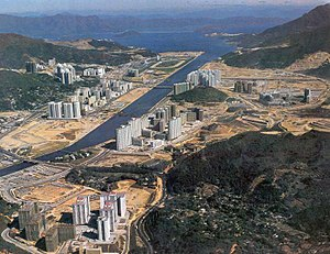 Sha Tin - Sha Tin New Town under development in the late 1970s.