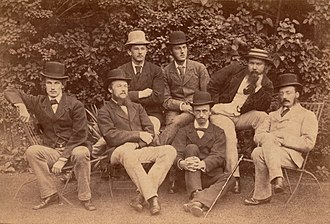 George Campbell Macaulay - Macaulay in 1873 (far left), Shakespeare Society, Trinity College, Cambridge