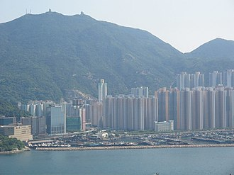 Shau Kei Wan - View of Shau Kei Wan and Shaukeiwan Typhoon Shelter. Mount Parker is in the background.