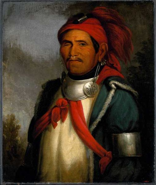 Tenskwatawa, the Shawnee Prophet, painted by Charles Bird King and reprinted in McKenney and Hall's History of the Indian Tribes of North America (1872)