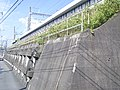 Shinkansen embankment concrete lattice frame retaining wall.jpg