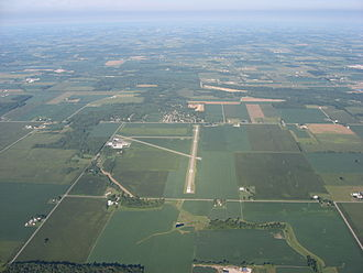 Sidney, Ohio - Aerial view of the Sidney Municipal Airport from the east