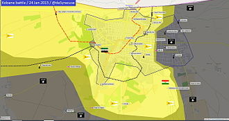Siege of Kobanî - Image: Siege of Kobani frontline progression, from October 2014 to January 2015