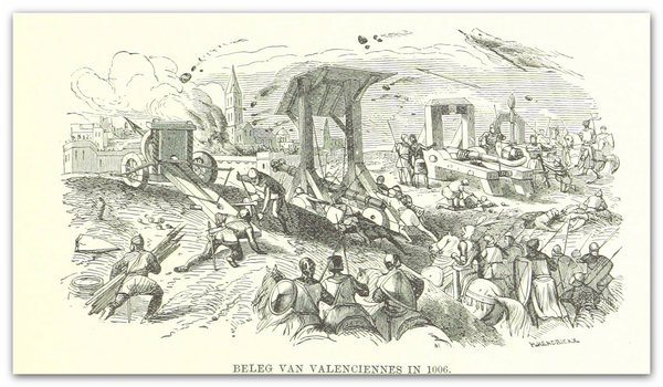 Siege of Valenciennes in 1006, illustration (1885).