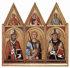Cambridge altar retable. Scene: three saints with angels, from left: S. Geminianus, S. Michael, S. Augustinus