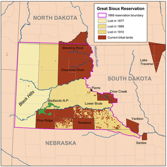Treaty of Fort Laramie (1868) - Map of the 1868 Great Sioux Reservation, and the subsequent changes in reservation borders