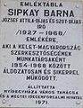 Sipkay Barna író emléktáblája, Dózsa György utca 6, 2017 Nyíregyháza.jpg