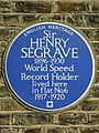 Sir Henry Segrave 1896-1930 World Speed Record Holder lived here in flat No.6 1917-1920.jpg