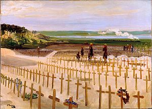 Étaples - Sir John Lavery's oil painting of the war cemetery at Étaples