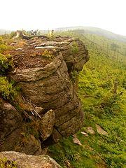 Wychodnie piaskowców istebniańskich pomiędzy szczytem Magurki Radziechowskiej, a Magurki Wiślańskiej