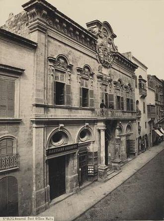 Banca Giuratale (Valletta) - The Banca Giuratale in the 19th century, when it was the GPO