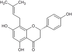 Chemical structure of 8-prenylnaringenin.