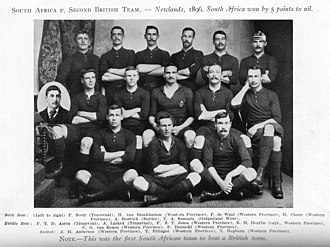 1896 British Lions tour to South Africa - The South African team that won the Fourth Test, the very first international rugby victory for the country.