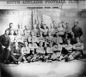 Charles Kingston - Members of the South Adelaide Football Club, premiers 1885; Charles Cameron Kingston is standing in the back row, far right, wearing a top hat.