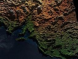Carte en 3D de l'Australie-Méridionale(source:NASA).