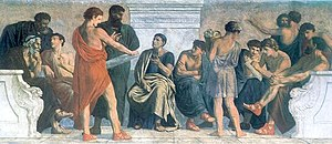 History of education - School of Aristotle, fresco by Gustav Spangenberg.