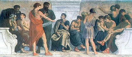 Gustav Adolph Spangenberg, Die Schule des Aristoteles, Fresko 1883–1888 (Quelle: Wikimedia)