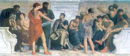 500px-Spangenberg_-_Schule_des_Aristoteles Aristóteles - O Filósofo Grego