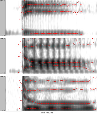 Speech perception - Image: Spectrograms of syllables dee dah doo