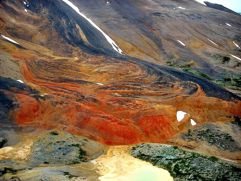 colors of Mount Edziza volcano in northern British Columbian mountains