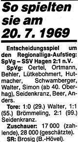 Spielbericht 1969