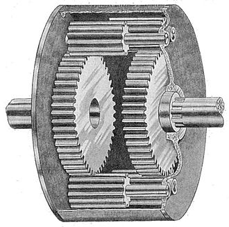 Differential (mechanical device) - A spur gear differential constructed by engaging the planet gears of two co-axial epicyclic gear trains.  The casing is the carrier for this planetary gear train.