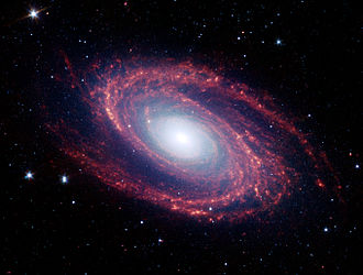 Grand design spiral galaxy - A Spitzer Space Telescope image of Messier 81, a grand design spiral.