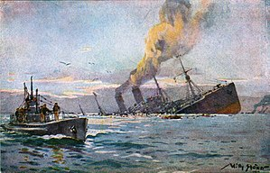 Naval warfare of World War I - U-boat sinking a troopship, painting by Willy Stöwer